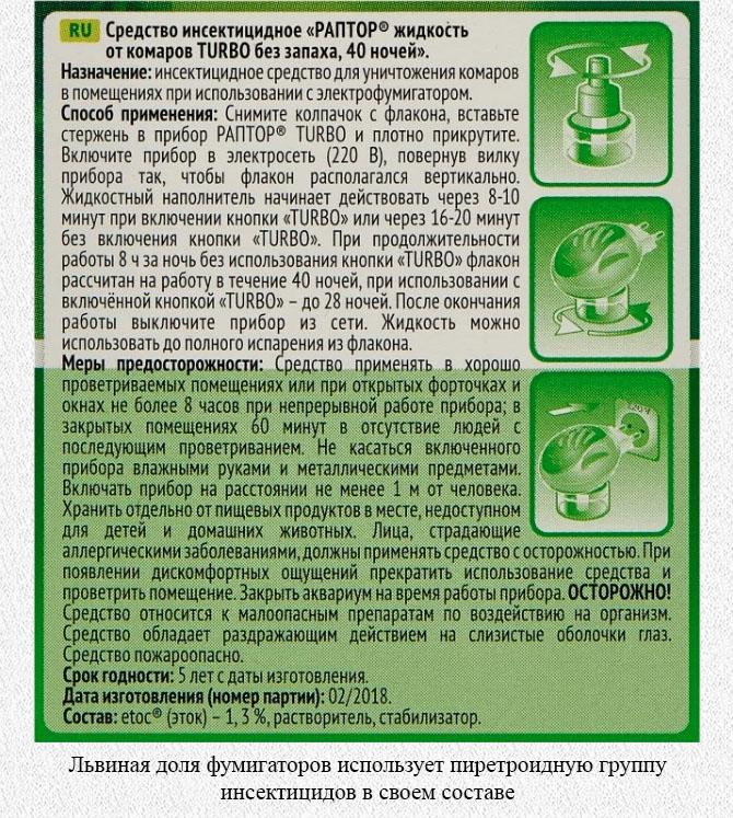 Инсектицидное средство от комаров Раптор