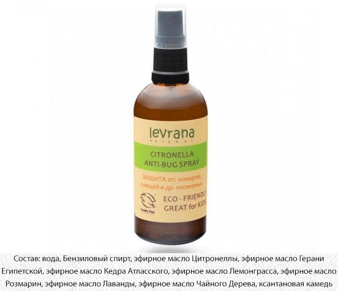 Спрей от комаров для детей на основе эфирного масла цитронеллы Levrana