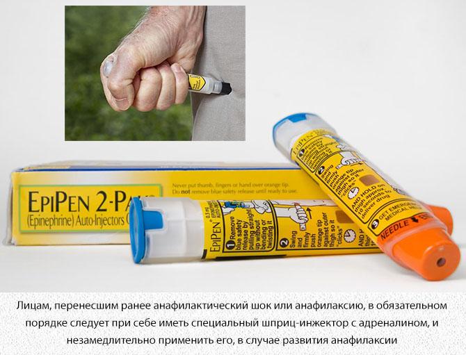 Шприц с адреналином при анафилаксии