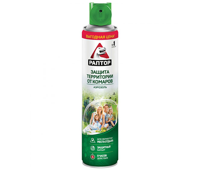 Аэрозоль от комаров Раптор для защиты территории от комаров