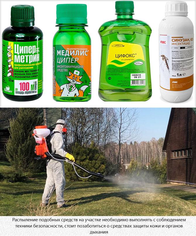 Химические средства для обработки участка от комаров
