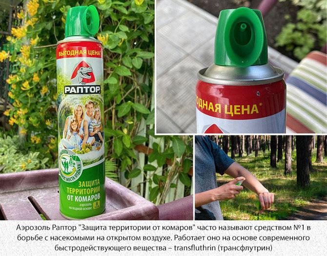 """Аэрозоль от насекомых Раптор """"Защита территории от комаров"""""""