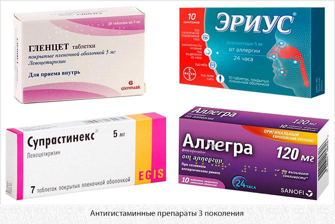 Антигистаминные препараты 3 поколения